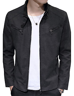 Men's Casual/Daily Work Club Vintage Simple Street chic Jacket,Letter Solid Stand Long Sleeve Fall Winter Wash separately Cotton Polyester