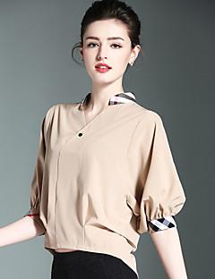 Naiset ½ hiha Stand-kaula-aukko Polyesteri Kevät Kesä Söpö Bile Paita,Yhtenäinen Valkoinen Musta Ruskea