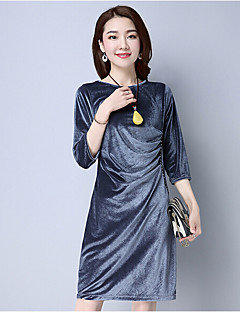 Women's Casual/Daily Vintage Sheath Dress,Solid Round Neck Midi ¾ Sleeve Cotton Polyester Blue Black Green Silver Spring Summer Mid Rise