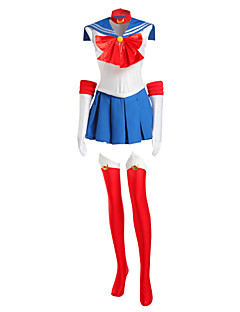 Inspirovaný Sailor Moon Sailor Moon Anime Cosplay kostýmy Cosplay šaty Patchwork Biały / Czerwony / Niebieski Bez rukávůK šatům /
