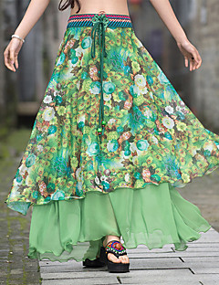 Schommel Rokken,Dames Print Chiffon,Vintage Boho Chinoiserie Medium taille Casual/Dagelijks Vakantie Maxi Elasticiteit Polyester