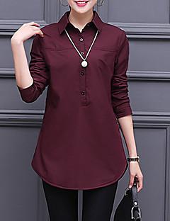 Damen Solide Einfach Street Schick Anspruchsvoll Ausgehen Lässig/Alltäglich Party/Cocktail Hemd,Hemdkragen Alle Saisons Frühling Langarm