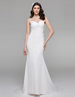 LAN TING BRIDE Trumpet / Mermaid Wedding Dress Simply Sublime Wedding Dress in Color Sweep / Brush Train Jewel Chiffon Satin withBeading