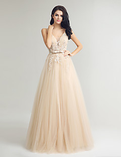 Formal Evening Dress Sheath / Column V-neck Floor-length Lace Tulle with Beading Lace