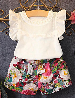 Girl Casual/Daily Print Patchwork Sets,Cotton Polyester Summer Short Sleeve Clothing Set