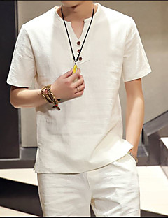 Casual/Daily Simple Summer T-shirt,Solid V Neck Short Sleeve White Black Linen Thin
