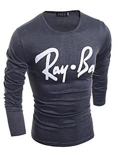 남성 문자 라운드 넥 긴 소매 티셔츠,심플 스트리트 쉬크 펑크 & 고딕 데이트 캐쥬얼/데일리 클럽 화이트 블랙 그레이 면 스판덱스 사계절