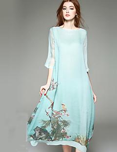Damer Sødt I-byen-tøj Plusstørrelser Swing Kjole Blomstret Dyretryk,Rund hals Asymmetrisk 3/4 ærmelængde Grøn Silke Forår SommerAlm.