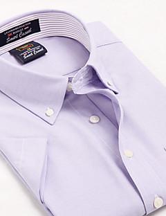 אנשיו של חולצה משובץ כותנה / פוליאסטר שרוול קצר יום יומי / עבודה / רשמי / ספורט סגול / לבן