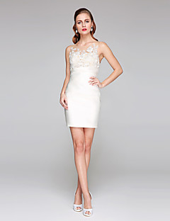 LAN TING BRIDE Sheath / Column Wedding Dress - Chic & Modern Little White Dress See-Through Short / Mini Jewel Lace Satin withAppliques