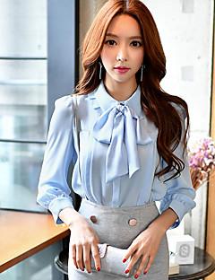 3/4 ærmelængde Krave Solid Medium Dame Blå Ensfarvet Forår Efterår Sødt Gade Sofistikerede I-byen-tøj Afslappet/Hverdag Arbejde Skjorte,