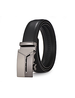 Men's Suits Dress Silver Automatic Belt Buckles Black Leather Wide Waist Belt Strap