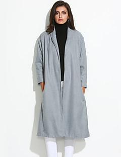 Damen Solide Mantel,Winter Hemdkragen Langarm Grau Undurchsichtig Wolle