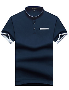 Men's Plus Size Casual/Daily Simple Street chic Active Summer Polo,Solid Stand Short Sleeve Cotton Spandex Thin Medium