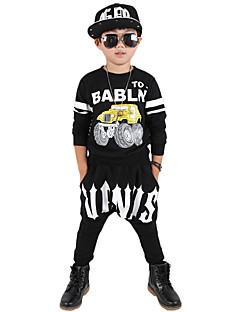 Drenge Indstiller I-byen-tøj Afslappet/Hverdag Skole Trykt mønster,Bomuld Forår Efterår Langærmet Tøjsæt