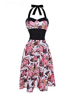 Dámské Vintage Běžné/Denní Swing Šaty Květinový,Bez rukávů Lodičkový Midi Bavlna Polyester Léto Mid Rise Lehce elastické Tenké