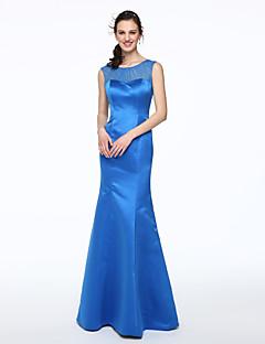 LAN TING BRIDE עד הריצפה מחשוף עמוק שמלה לשושבינה - אלגנטי ללא שרוולים סאטן
