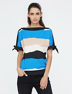Sommar Randig Kortärmad Utekväll Plusstorlek T-shirt,Streetchic Dam Rund hals Polyester Medium Blå Röd Orange