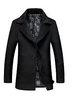 Casaco Longo Casual Vintage Inverno,Geométrica Lavar à Mão Secar no Plano Algodão Colarinho de Camisa-Manga Longa Padrão