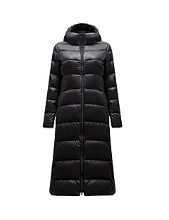 Manteau Doudoune Femme,Longue simple Décontracté / Quotidien Couleur Pleine-Nylon Duvet de Canard Blanc Manches Longues