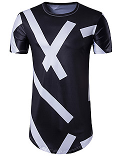 Polyester Kortermet,Rund hals T-skjorte Geometrisk Gatemote Fritid/hverdag Herre