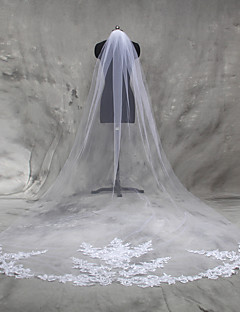 Wedding Veil One-tier Cathedral Veils Lace Applique Edge Tulle With Comb