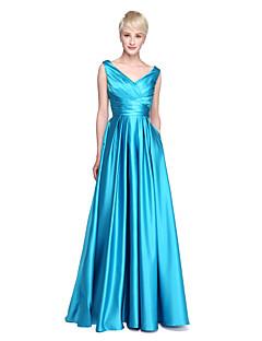 LAN TING BRIDE Földig érő V-nyakkivágás Koszorúslány ruha - Elegáns Gyönyörű fekete Ujjatlan Szatén