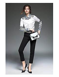 Majica Ženske,Jednostavno Ležerno/za svaki dan Cvjetni print-Dugih rukava Kragna košulje-Proljeće Tanko Pamuk