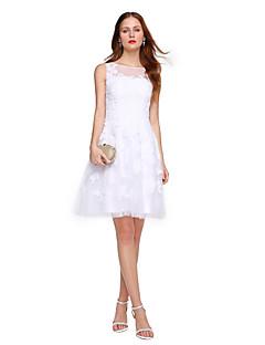 TS Couture Κοκτέιλ Πάρτι Φόρεμα - Κομψό Όμορφη Πλάτη Γραμμή Α Με Κόσμημα Κοντό / Μίνι Δαντέλα Τούλι με Διακοσμητικά Επιράμματα Πλισέ