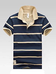 Bomull Kortermet,Skjortekrage Polo Stripet Vår Sommer Enkel Aktiv Ut på byen Fritid/hverdag Strand Herre