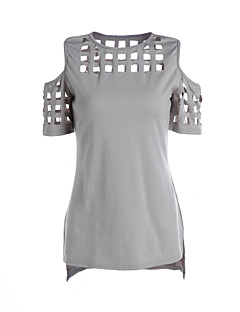 Women's Going out / Casual/Daily Simple / Street chic Summer Hollow Out T-shirtSolid Round Neck Short Sleeve