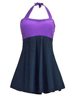 Women's Halter One-piece Color Block Lace Up High Rise Polyester Solid