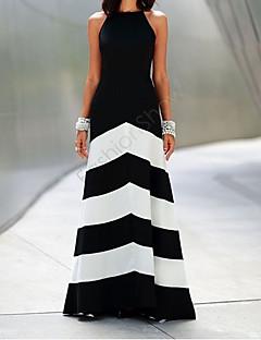 Spot Ms. elegant shoulder backless dress bandage striped maxi dress party