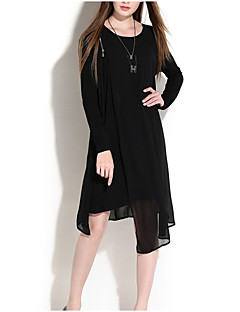 Women's Plus Size Going out Casual/Daily Sexy Simple Cute Loose Chiffon Dress,Solid Patchwork Layered Round Neck Knee-length Long Sleeve
