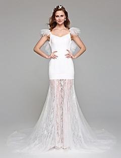 Una línea de vestido de novia simplemente sublime piso de longitud fuera de los hombros de encaje tul con encaje