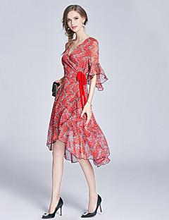 Damen Hülle Kleid-Ausgehen Lässig/Alltäglich Klub Einfach Boho Street Schick Druck Trägerlos Knielang Kurzarm Kunstseide Frühling Sommer