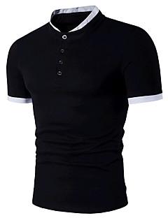 Masculino Polo Formal Para Noite Simples Activo Verão,Estampa Colorida Algodão Colarinho de Camisa Manga Curta Média