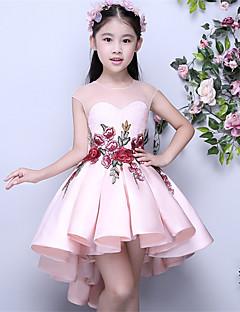 Asymetrické Mikado Šaty pro malou družičku Plesové šaty Klenot s Aplikace