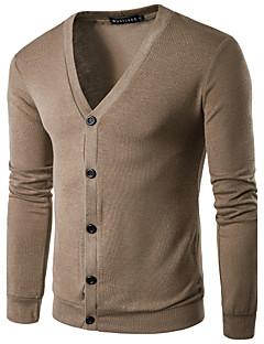 Herrer Afslappet/Hverdag Normal Cardigan Ensfarvet,V-hals Langærmet Polyester Forår Sommer Medium Mikroelastisk