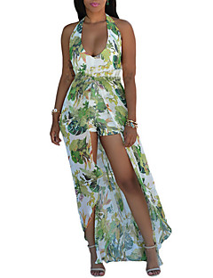 Women's Backless Going out Beach Sexy Sophisticated Swing Dress,Print Halter Maxi Sleeveless Rayon Polyester All Seasons Mid Rise Micro-elastic