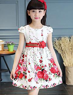 Djevojka je Pamuk Cvjetni print Ljeto Kratkih rukava Haljina