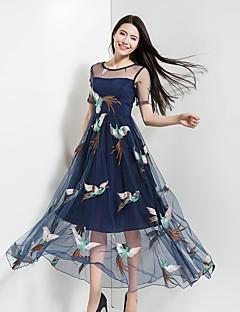 Damen Chiffon Swing Kleid-Urlaub Ausgehen Lässig/Alltäglich Boho Niedlich Stickerei Rundhalsausschnitt Maxi Ärmellos PolyesterFrühling
