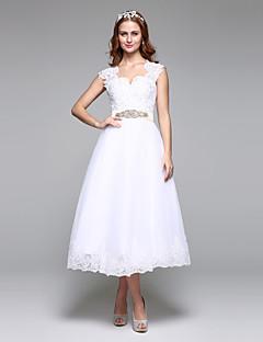 Linha A Ondulado Longuette Renda Tule Vestido de casamento com Miçangas Renda Faixa / Fita Laço de LAN TING BRIDE®