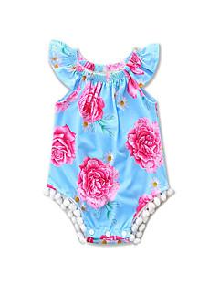 Baby Einzelteil Ausgehen Strand Blumen Druck Baumwolle Polyester Sommer Ärmellos