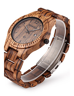Men's Wrist watch Unique Creative Watch Wood Watch Calendar Quartz Japanese Quartz Wood Band Luxury Brown