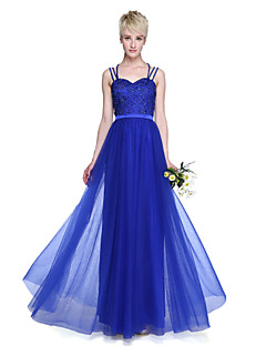 LAN TING BRIDE Floor-length Spaghetti Straps Bridesmaid Dress - Elegant Sleeveless Tulle