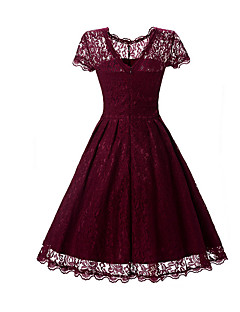 Women's Lace Work Party Vintage Sophisticated Swing Dress,Solid Round Neck Above Knee Short Sleeve Rayon Polyester All Seasons Mid Rise