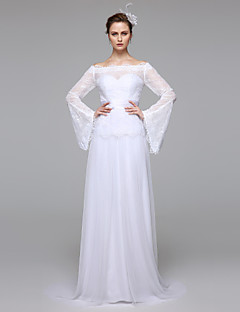 LAN TING BRIDE A-line Wedding Dress Simply Sublime See-Through Floor-length Bateau Lace with Sash / Ribbon