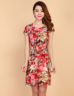 Women's Casual/Daily Simple A Line Dress,Floral Round Neck Above Knee Short Sleeve Rayon Summer High Rise Inelastic Medium
