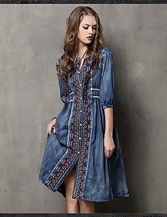 Women's Going out Casual/Daily Simple A Line Dress,Embroidered Shirt Collar Knee-length ½ Length Sleeve Rayon Summer High Rise
